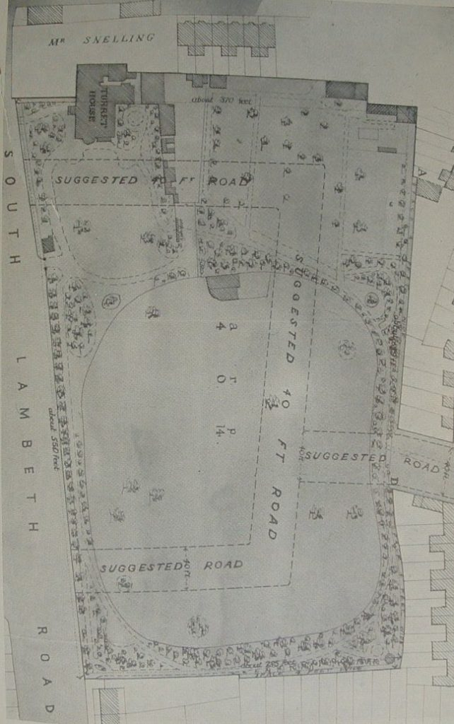1880 - Suggested outline plan of what would be Tradescant Street (Road from 1911)