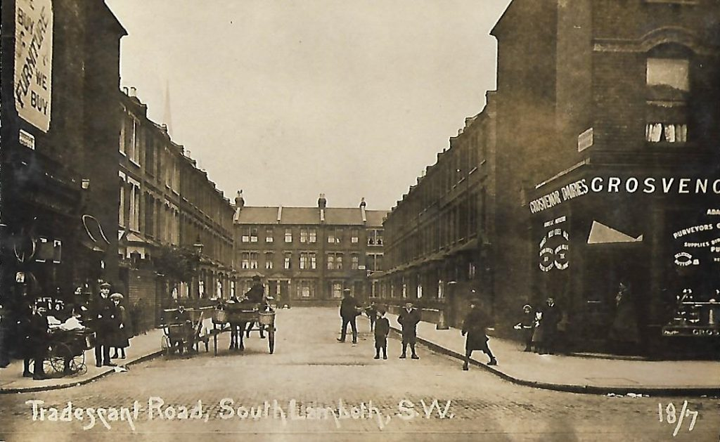 Postcard of Tradescant Road from 1909